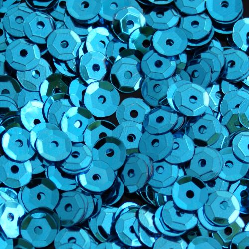 Turquoise Sequins 5g Pack of 5mm Round Cup Sequins